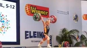 Lidia Valentín realizando dos tiempos (Clean & Jerk) con 147kg. Categoría -77. Abril 2014.
